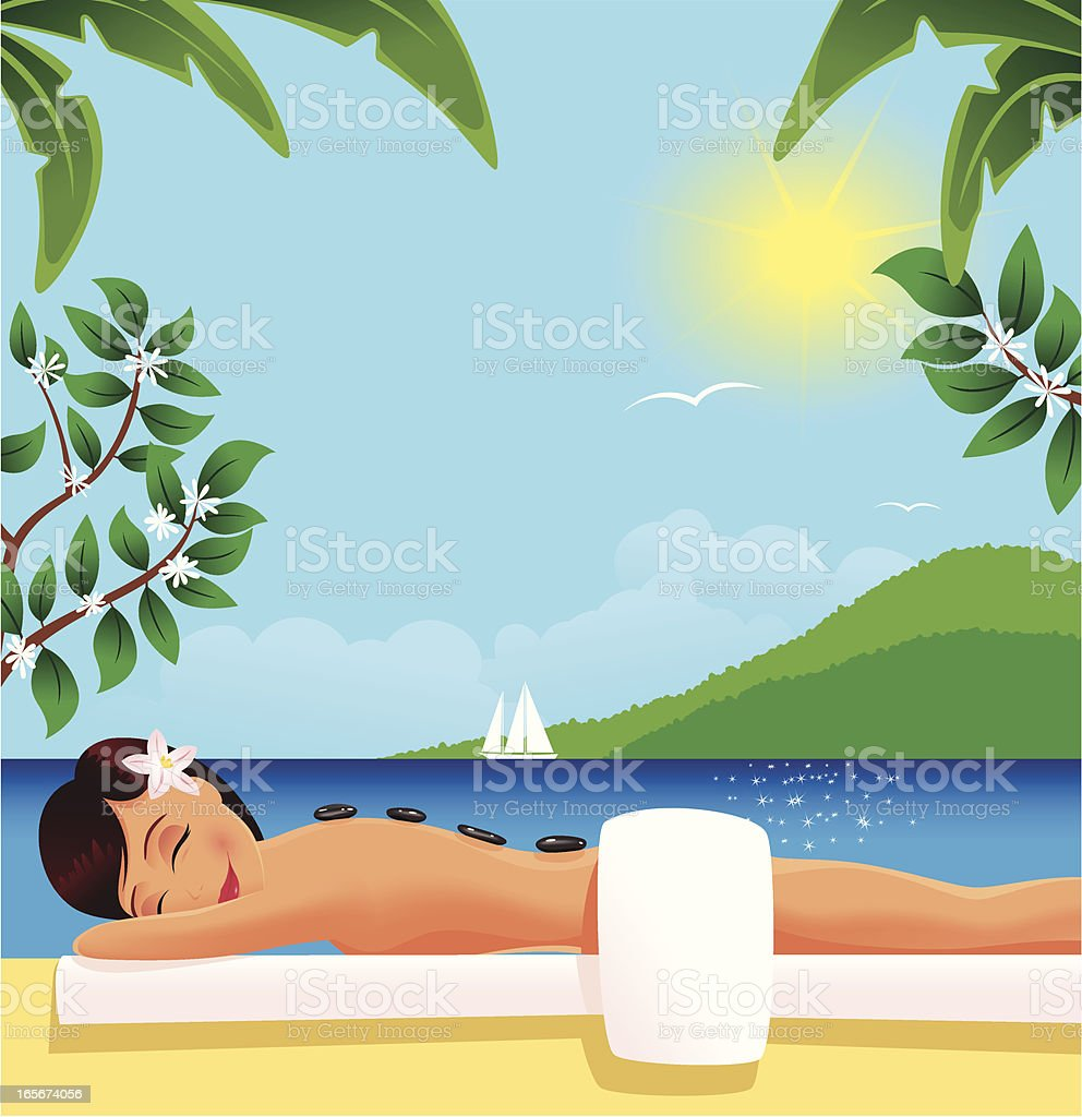 Girl having stone massage next to the sea vector art illustration