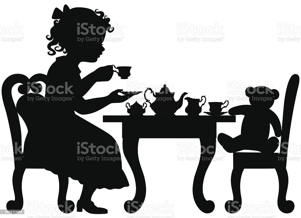 Girl having tea party royalty-free stock vector art