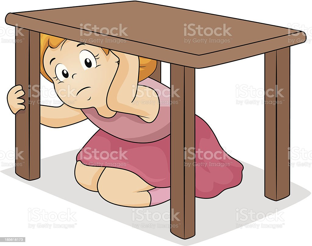 Girl Hiding Under Table royalty-free stock vector art