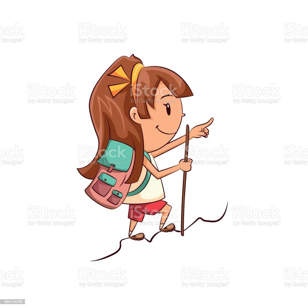 Girl hiking vector art illustration