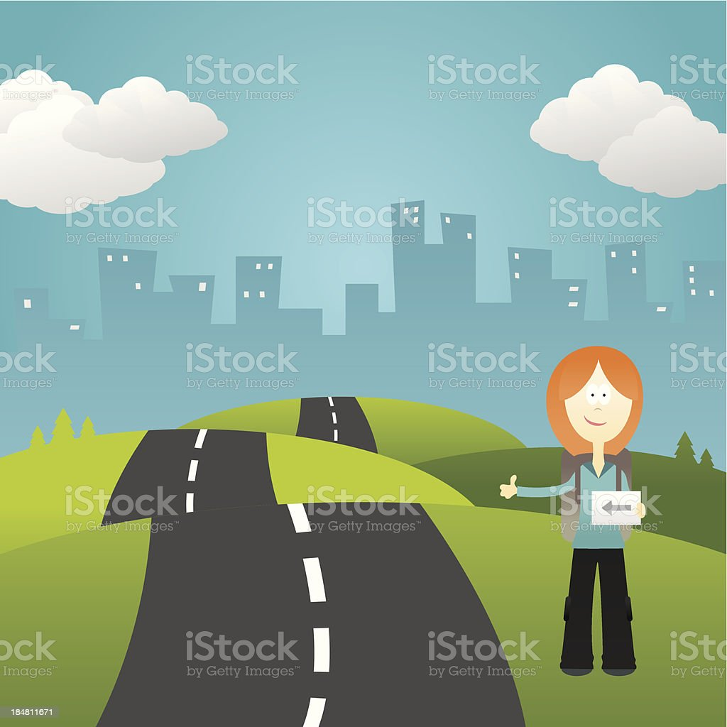 Girl hitchhiker vector art illustration