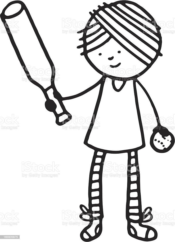 Girl holding a baseball bat and ball vector art illustration