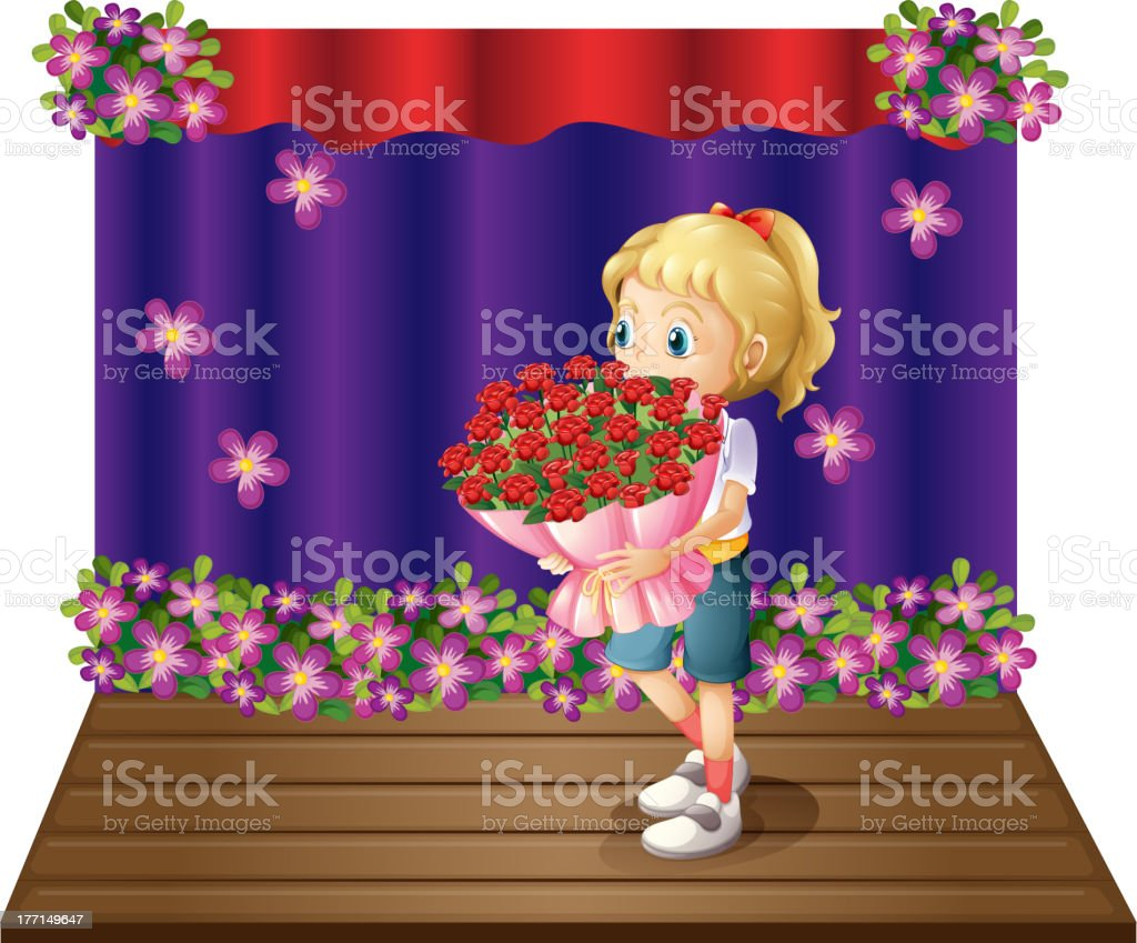 Girl holding a bouquet of flowers royalty-free stock vector art