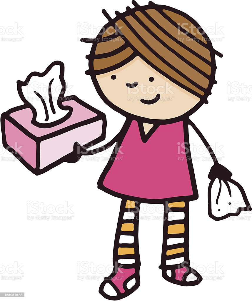 Girl holding a box of tissues royalty-free stock vector art