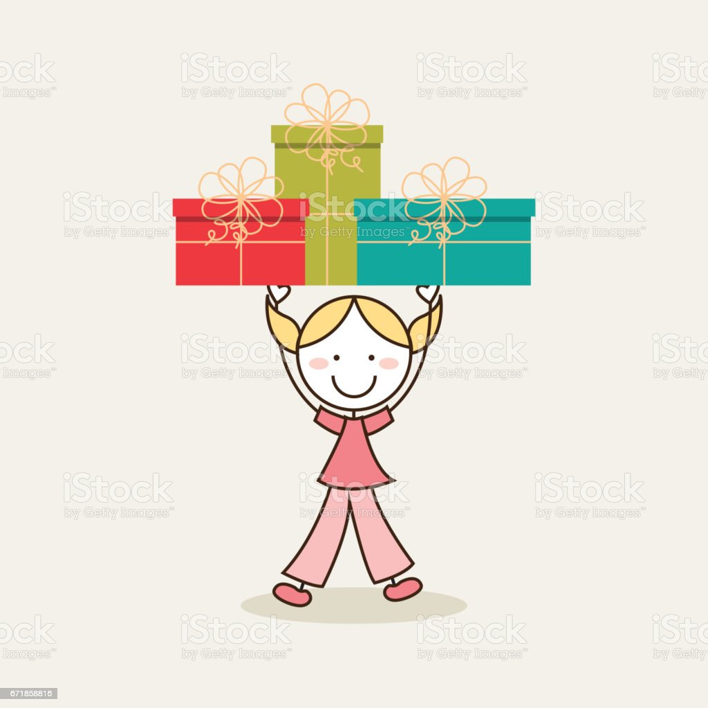 girl holding a gift boxes vector art illustration