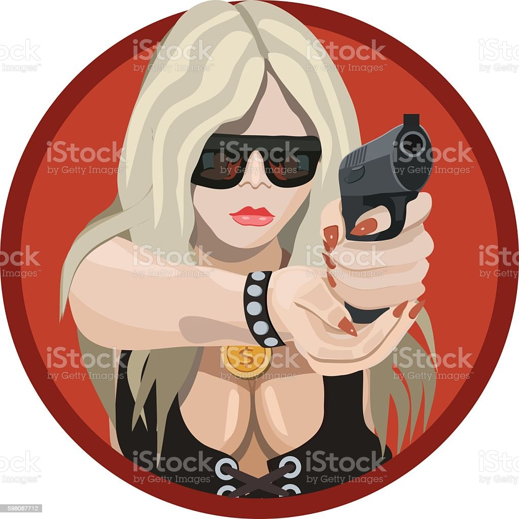 girl holding a gun vector art illustration