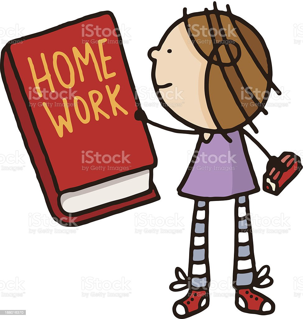Girl holding a large homework book royalty-free stock vector art