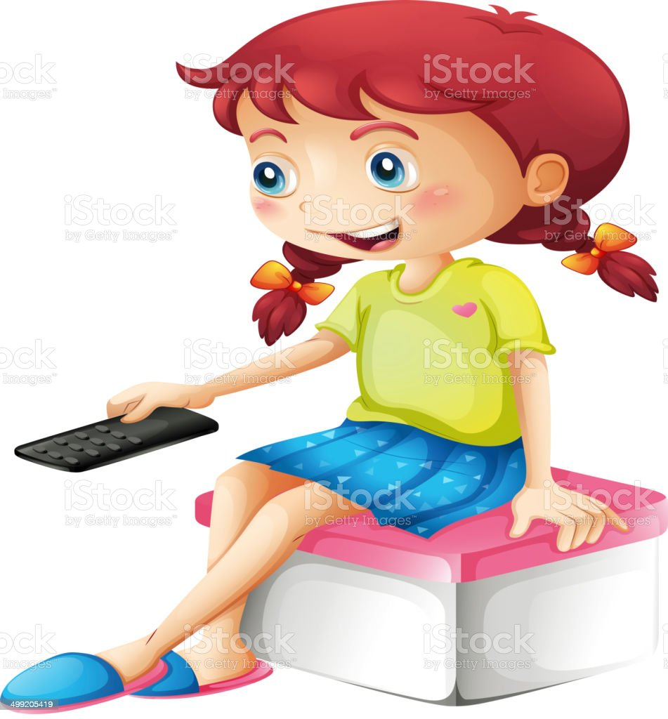 Girl holding a remote control vector art illustration
