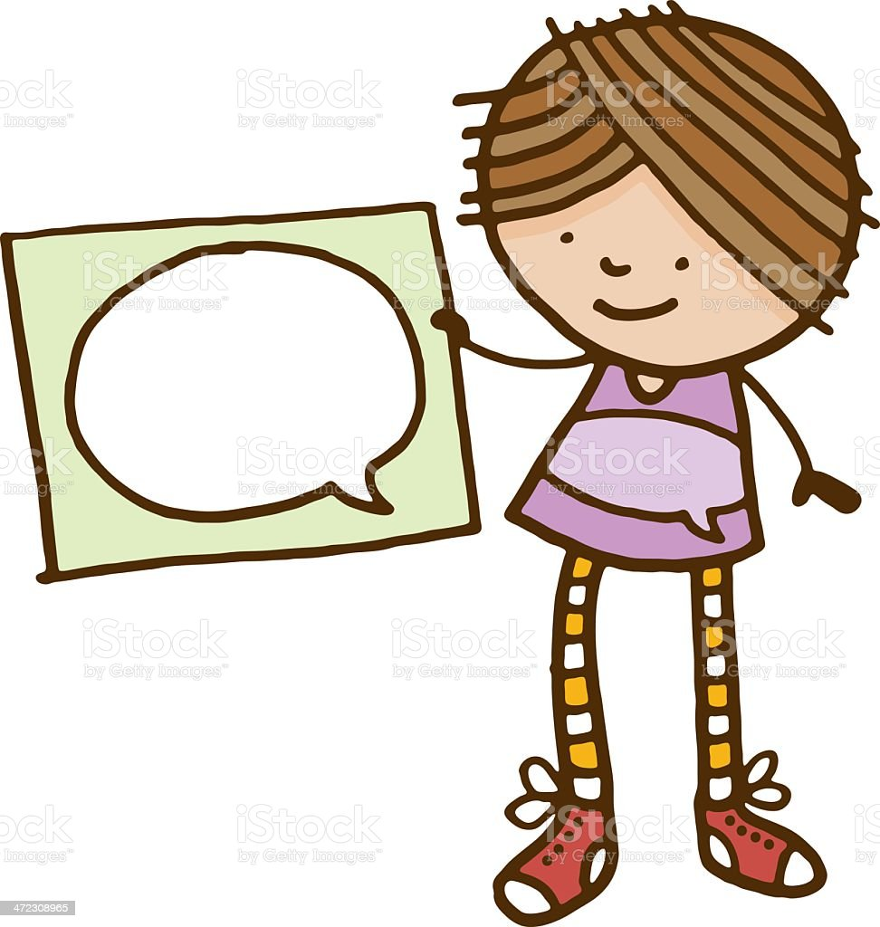 Girl holding a sign with speech bubble royalty-free stock vector art
