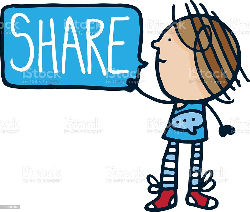 Girl holding a sign with the word share royalty-free stock vector art