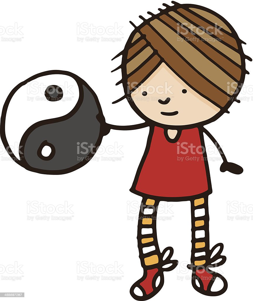 Girl holding a ying yang symbol royalty-free stock vector art