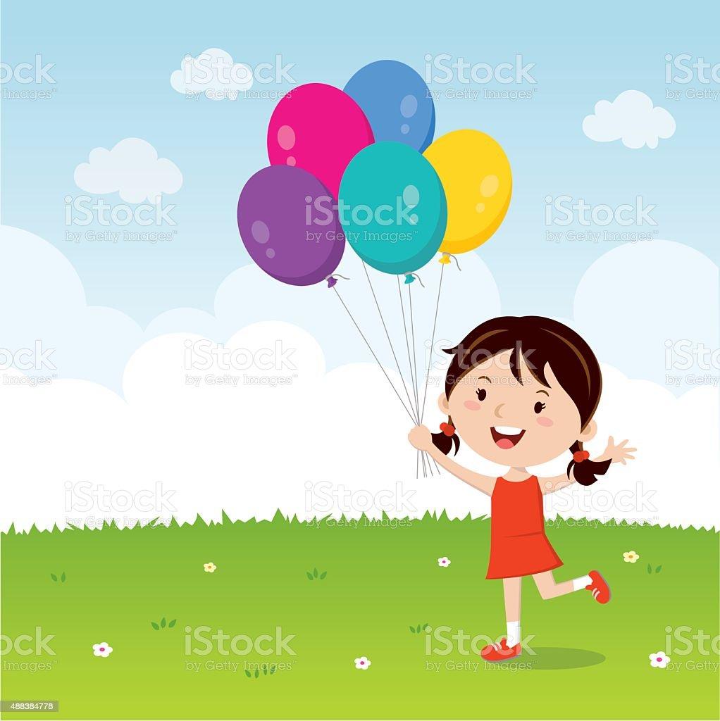 Girl holding balloons isolated vector art illustration