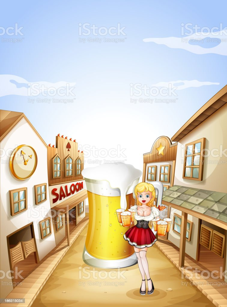 girl holding beer in front of big glass vector art illustration