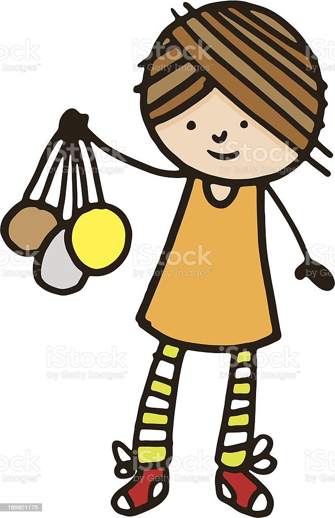 Girl holding bronze silver and gold medals royalty-free stock vector art
