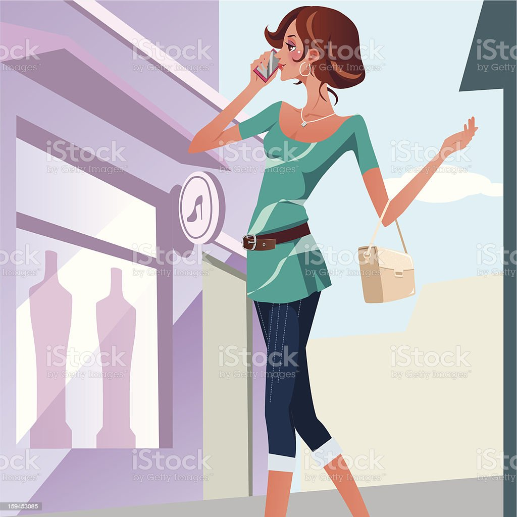 girl holding cellular phone royalty-free stock vector art