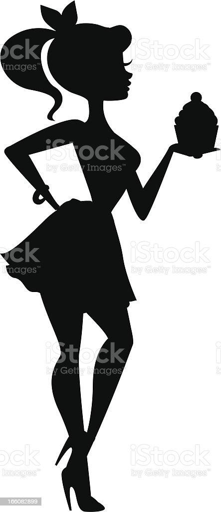 Girl Holding Cupcake Silhouette vector art illustration