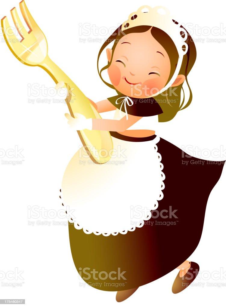 Girl holding fork royalty-free stock vector art