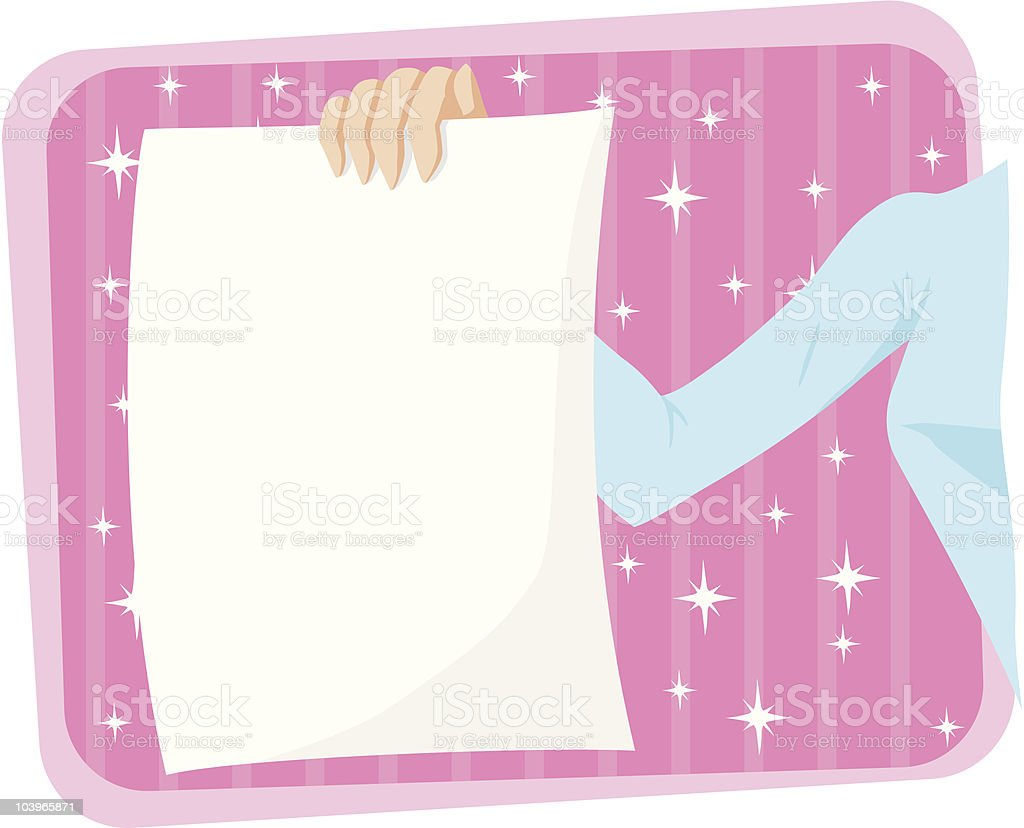 Girl holding page/flyer royalty-free stock vector art