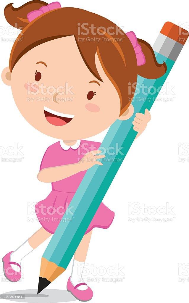 Girl holding pencil vector art illustration