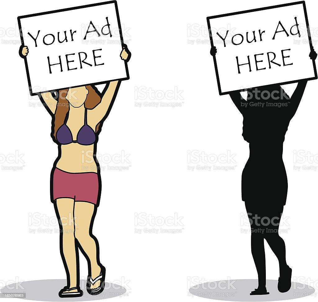 Girl holding sign (vector) royalty-free stock vector art