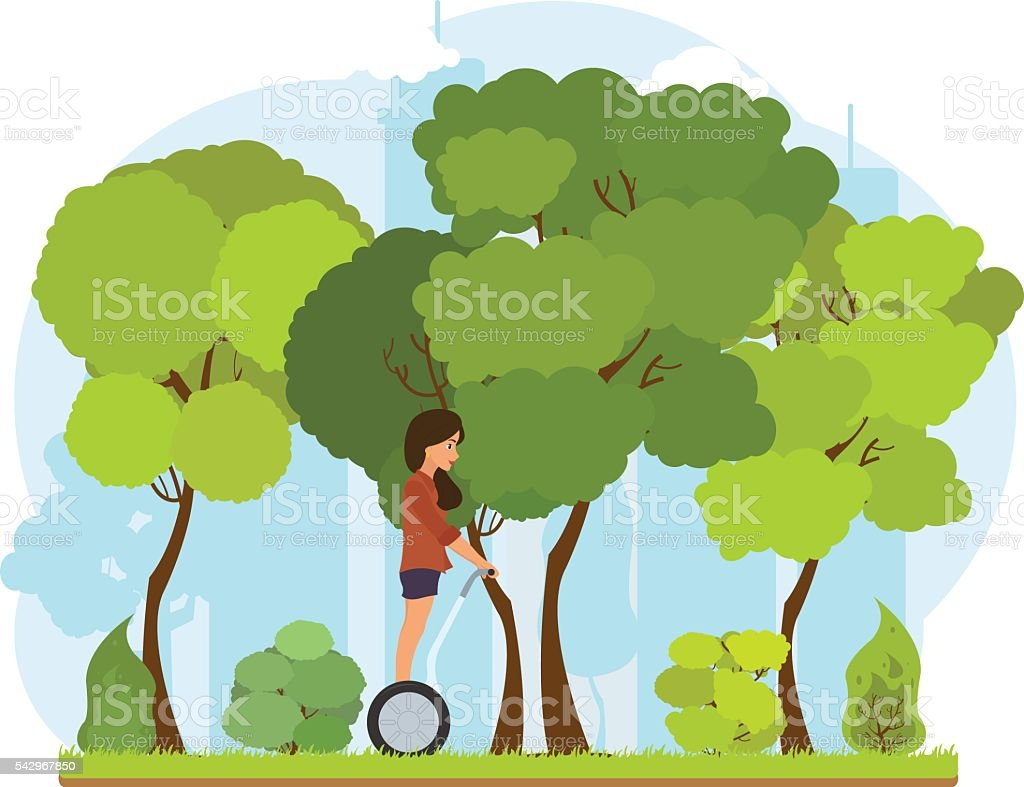 Girl in a city park rides a Segway. vector art illustration