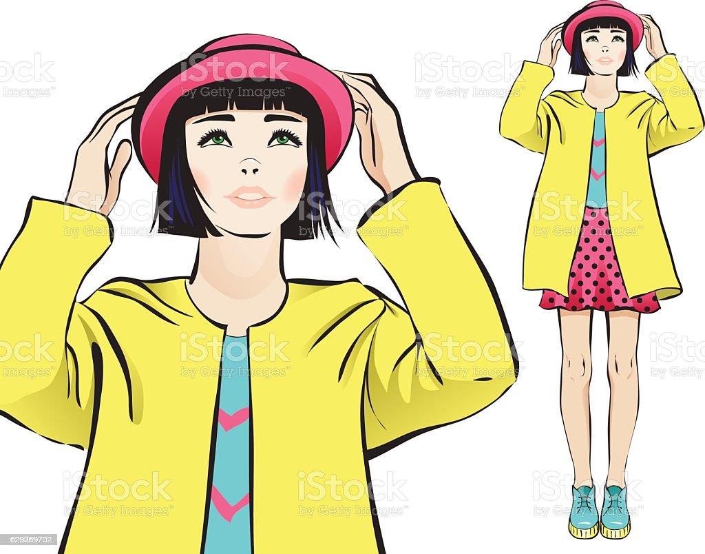 Girl in a hat vector art illustration