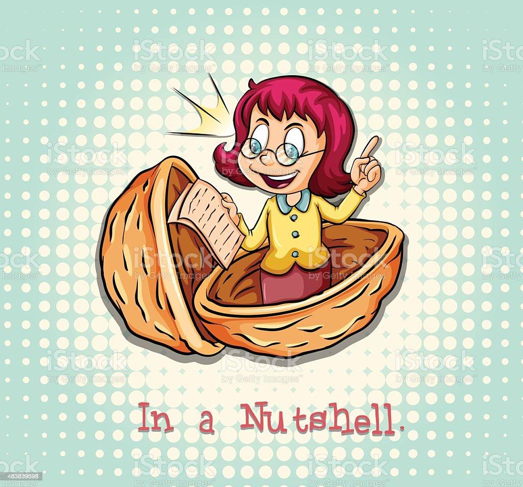 Girl in a nutshell idiom vector art illustration