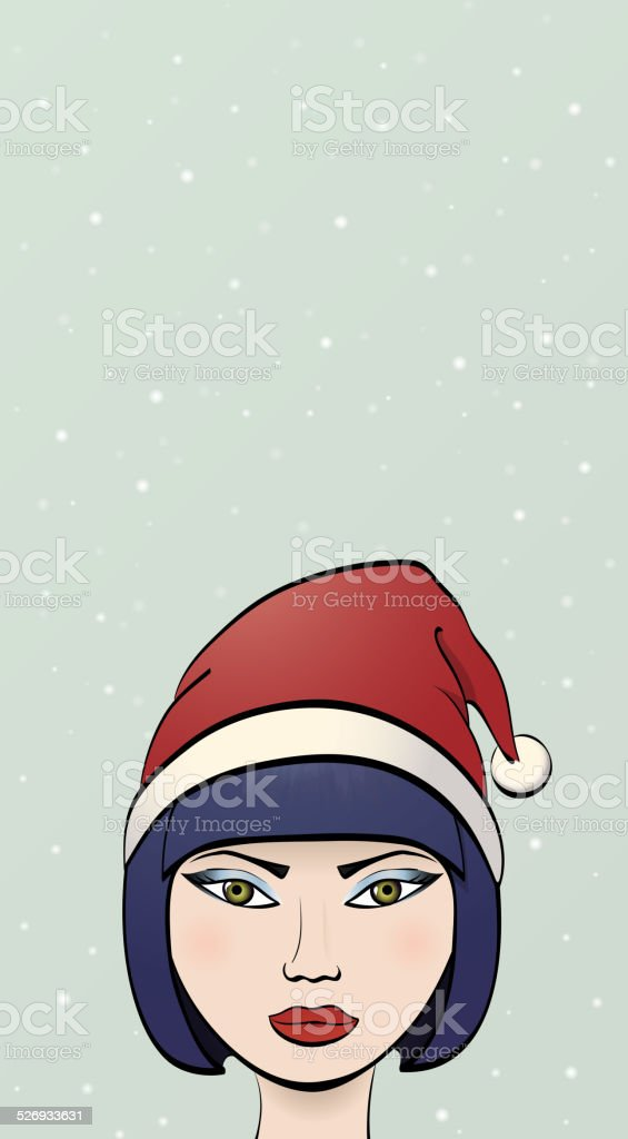 Girl in a Santa hat vector art illustration