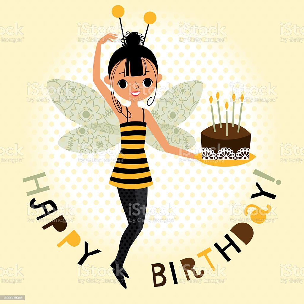 Girl in a Suit of a Bee with Cake. vector art illustration
