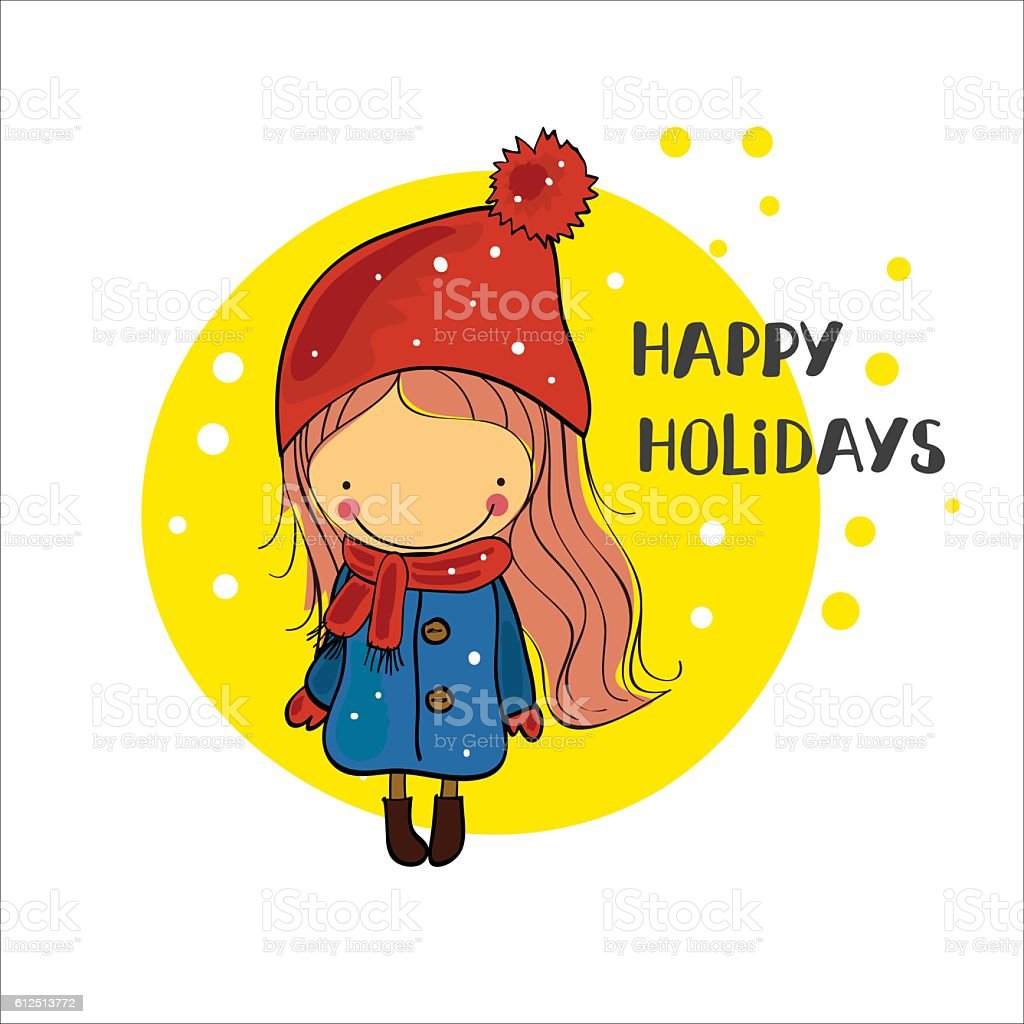 girl in a winter cap. Christmas Holidays royalty-free stock vector art