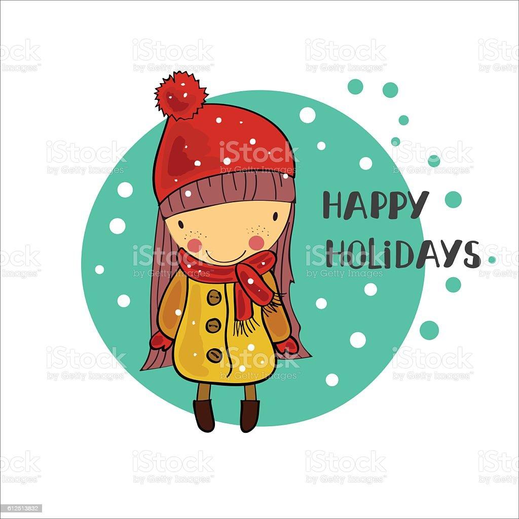 girl in a winter cap. Christmas Holidays vector art illustration