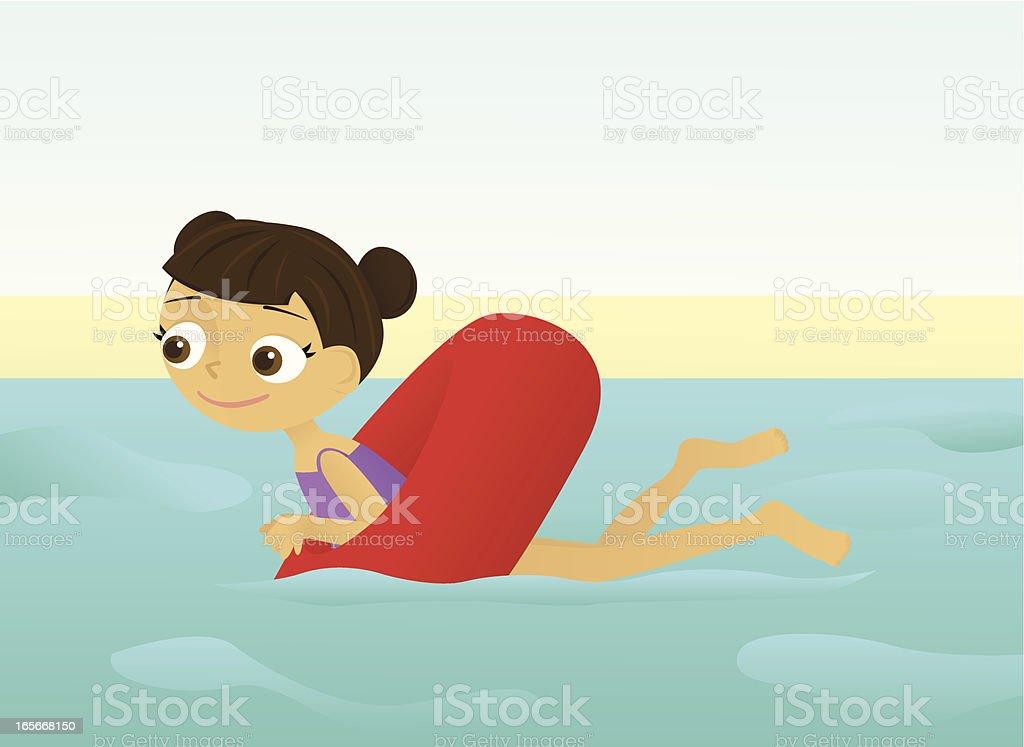 Girl in an Inner Tube vector art illustration