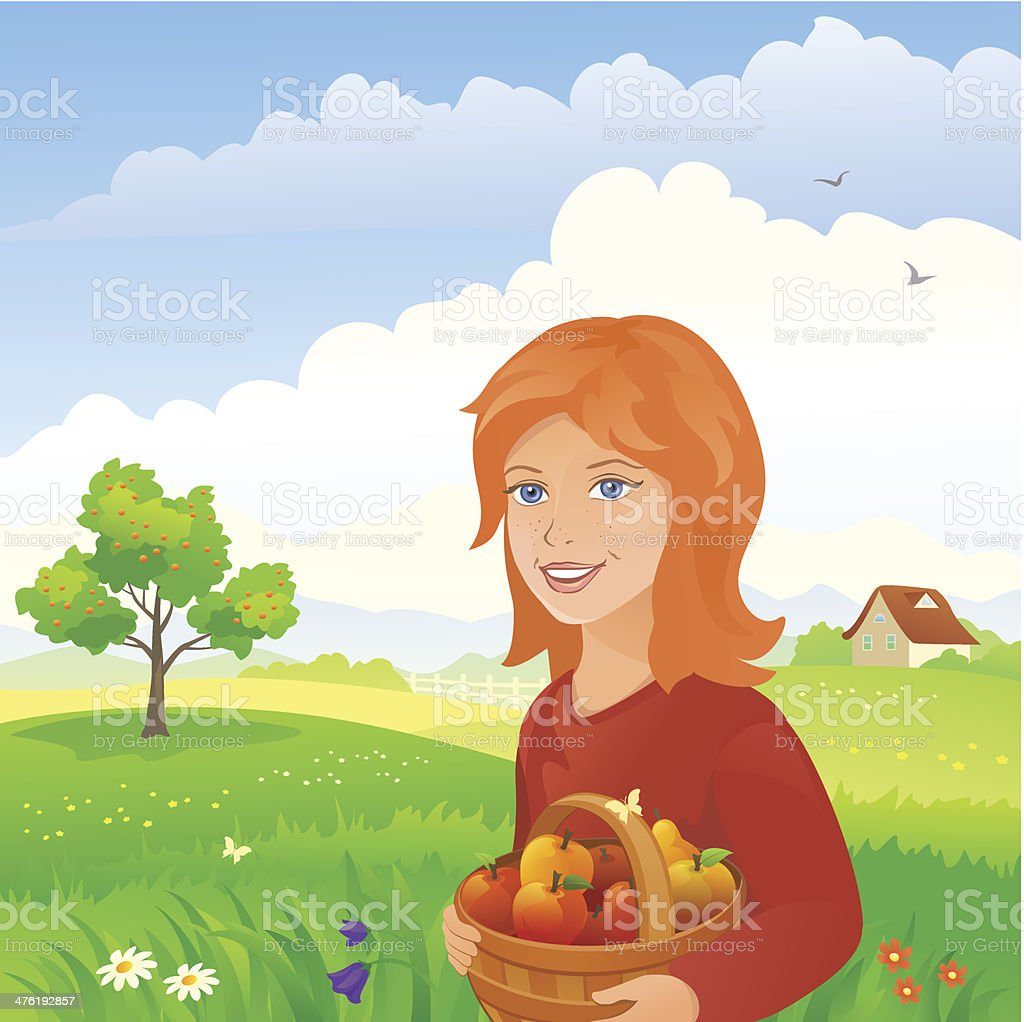 Girl in an orchard vector art illustration