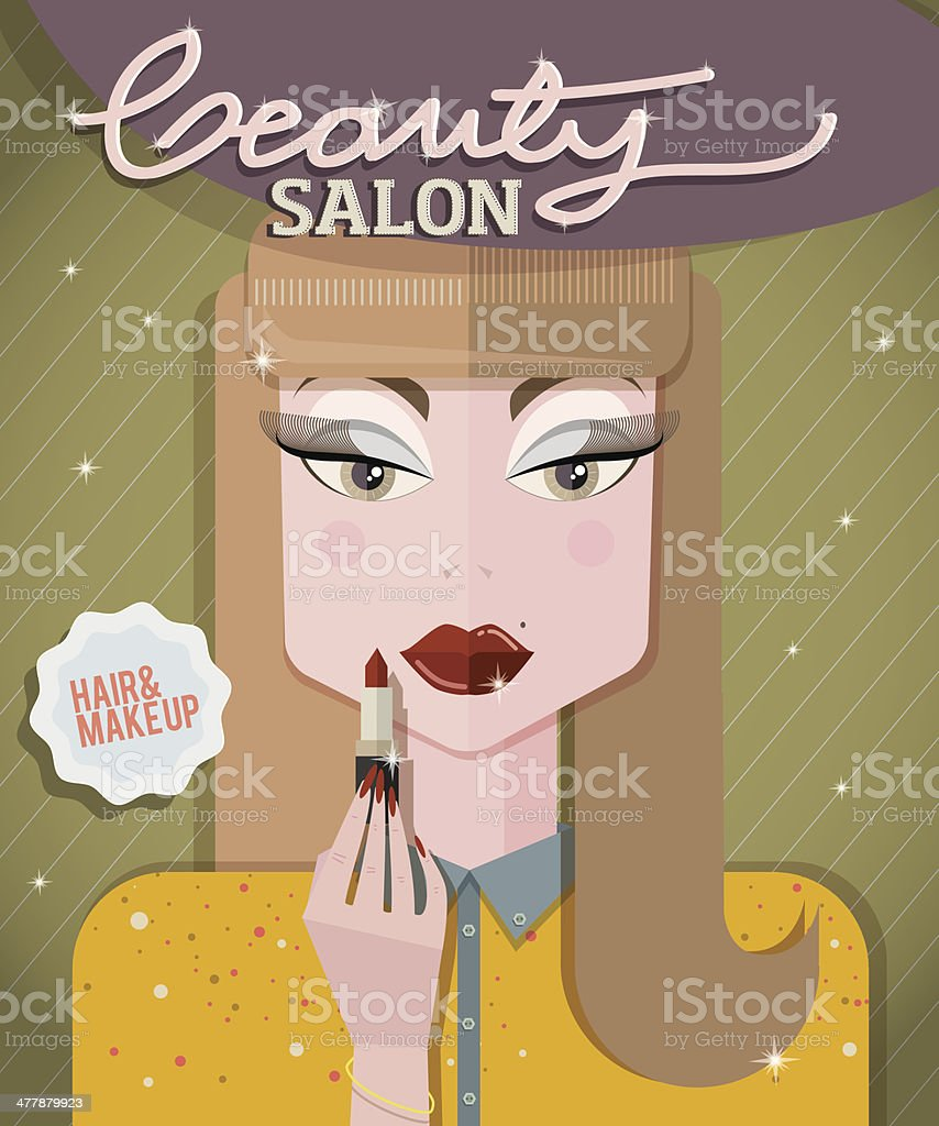 Girl in beauty salon putting lipstick royalty-free stock vector art