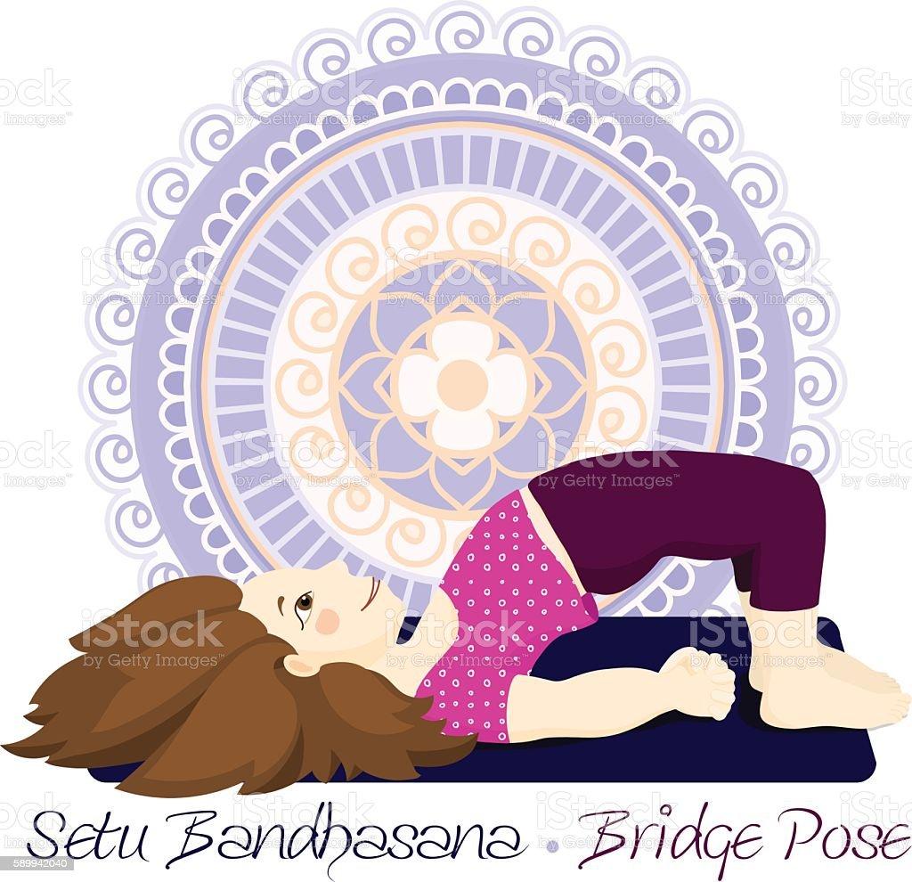 girl in Bridge Pose with mandala background vector art illustration
