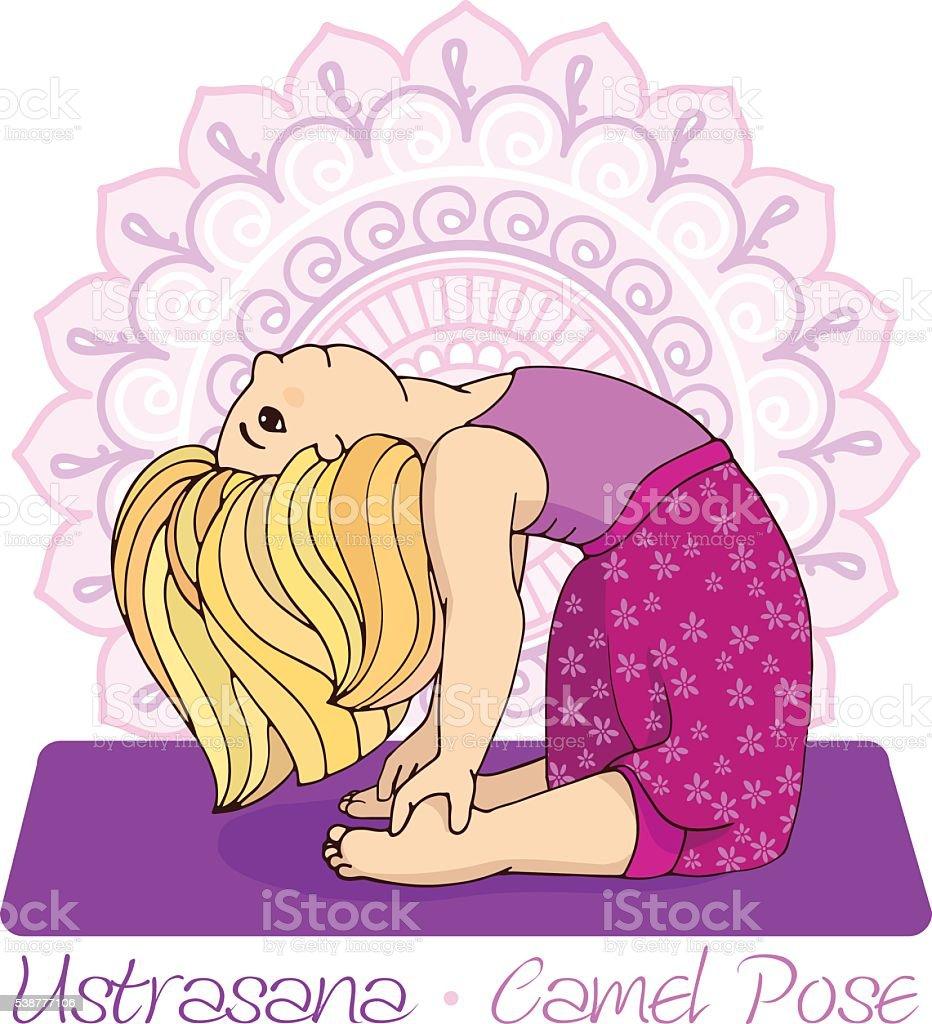 girl in Camel Pose with mandala background. vector art illustration