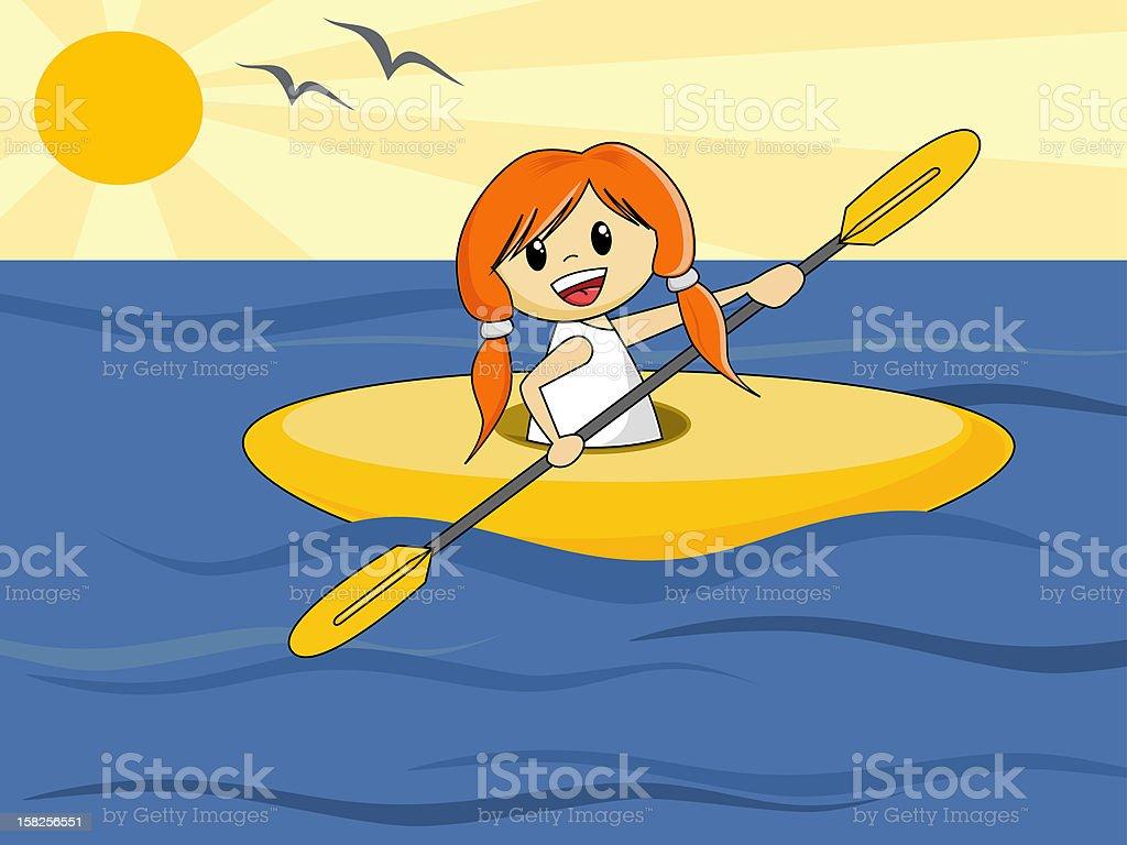 Girl in Canoe (vector) royalty-free stock vector art