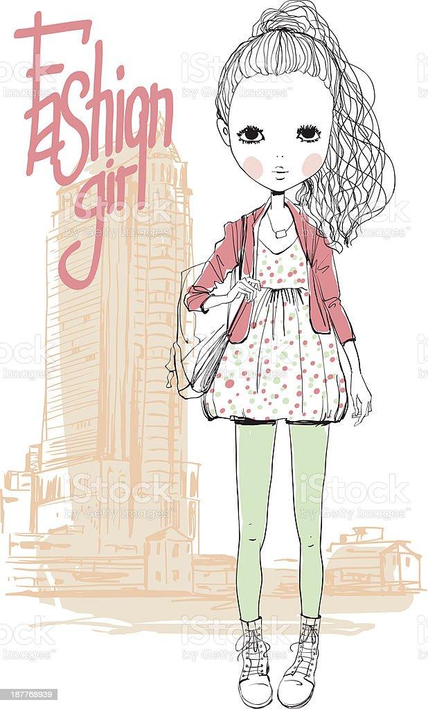 girl in city royalty-free stock vector art