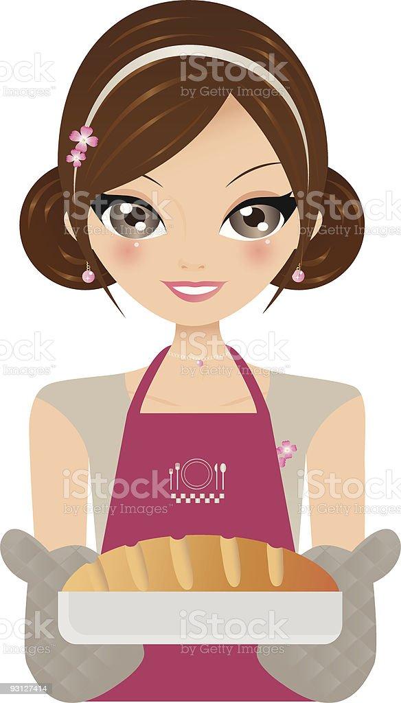 Chica en la cocina a la vista illustracion libre de derechos libre de derechos
