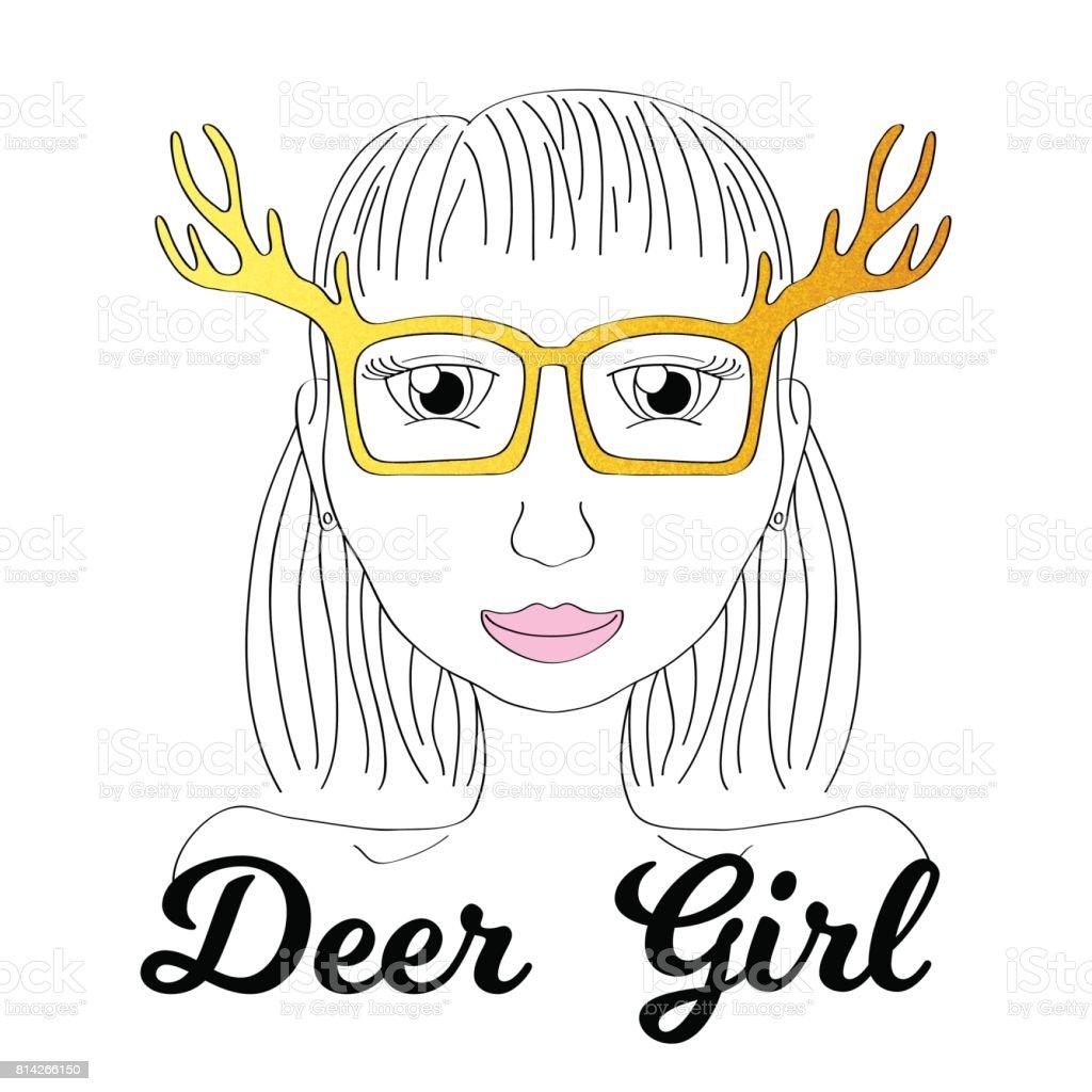Girl in deer horn glasses. Boho style fashionista girl print. Deerhorn thin line vector illustration. vector art illustration
