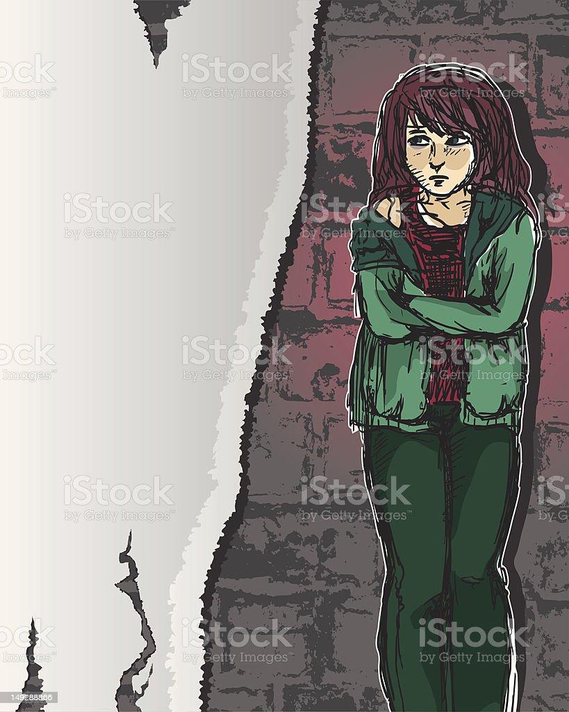 girl in distress vector art illustration