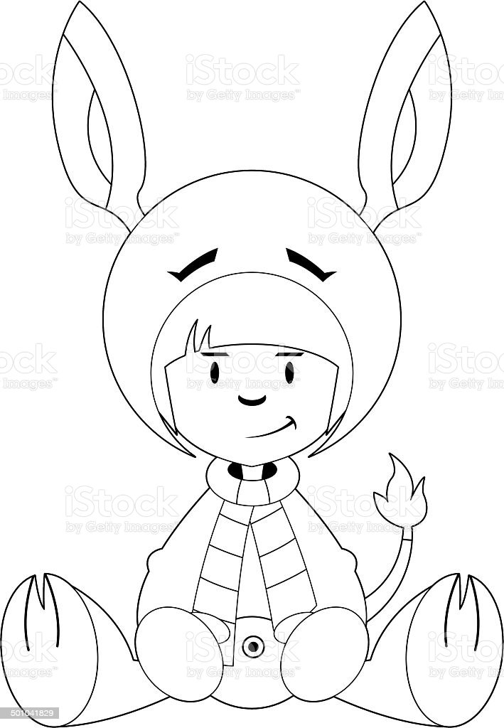 Girl in Donkey Costume Outline royalty-free stock vector art
