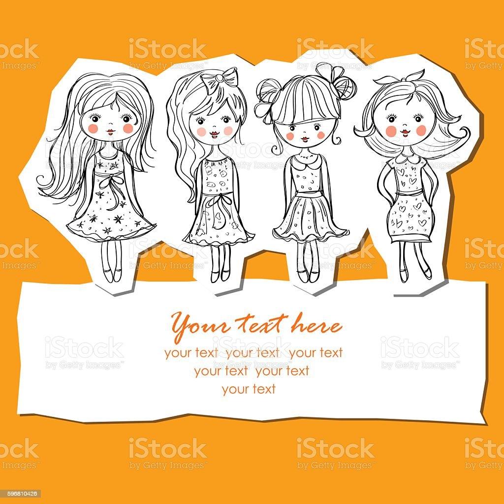 girl in dress royalty-free stock vector art