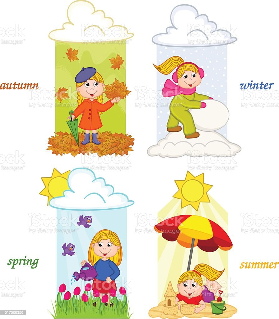 girl in four seasons of year vector art illustration