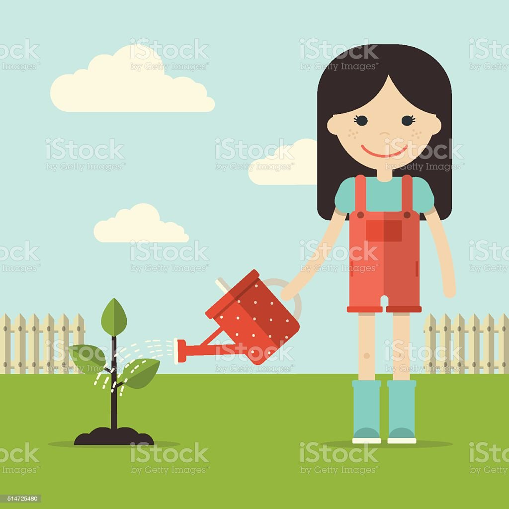 Girl in Garden vector art illustration