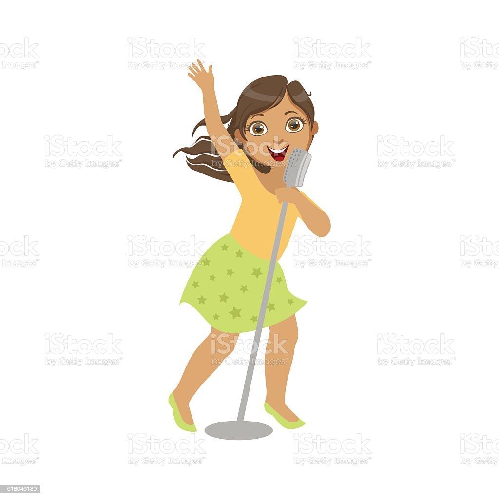 Girl In Green Skirt Singing In Karaoke vector art illustration