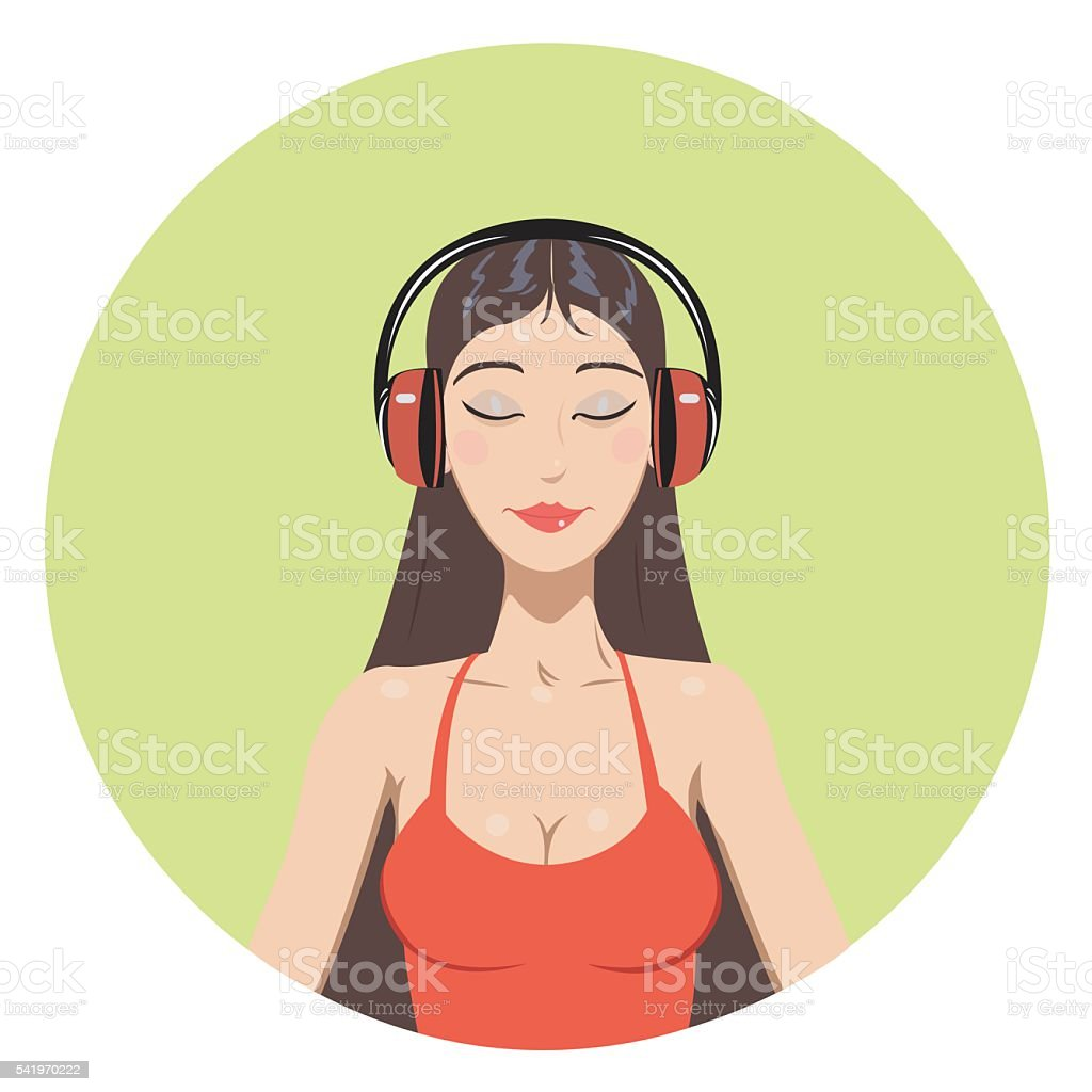 Girl in headphones royalty-free stock vector art