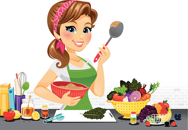 Woman Cooking Clip Art, Vector Images & Illustrations - iStock