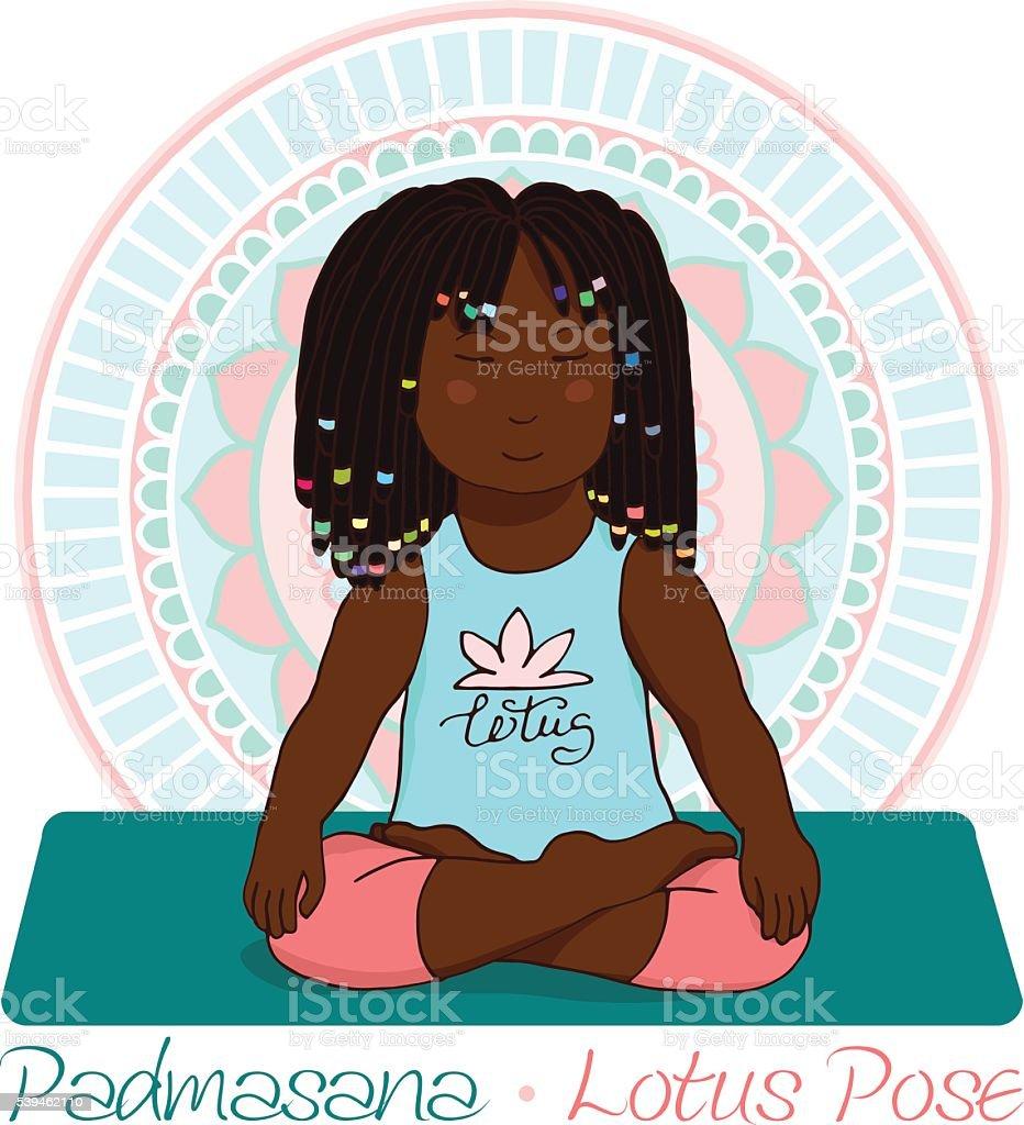 girl in Lotus Pose with mandala background vector art illustration