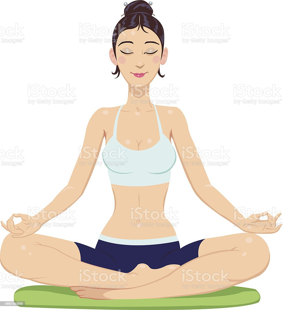 girl in lotus position royalty-free stock vector art